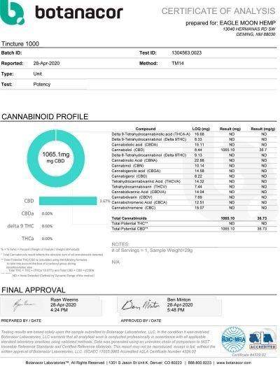 COA 1000mg CBD Tincture
