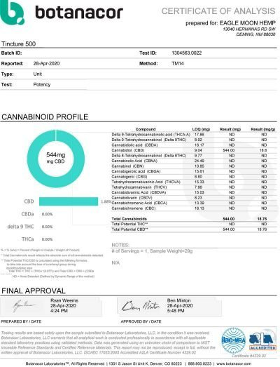 500mg CBD Tincture COA